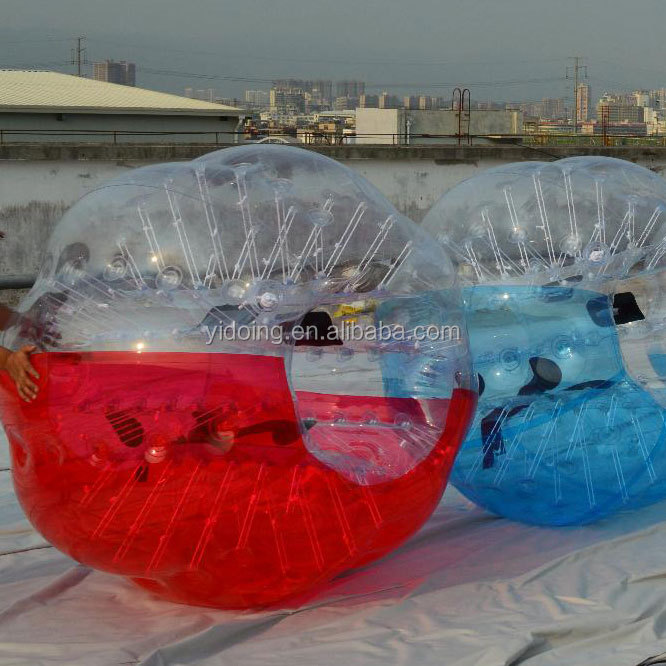 Kids inflatable bumper zorb ball, half color TPU bubble football cheap price D5020
