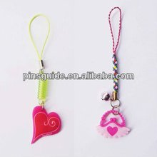 Promotion cheap heart shaped personalized soft pvc cell phone chain lanyard
