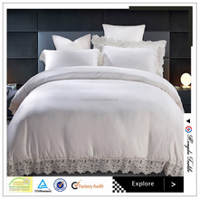 Pure cotton soft hand feeling white lacework bedding set 4pcs with fitted bed skirt organizer