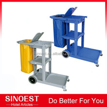 Foshan supplier Plastic Hotel cleaning trolley cart, Janitor Cart