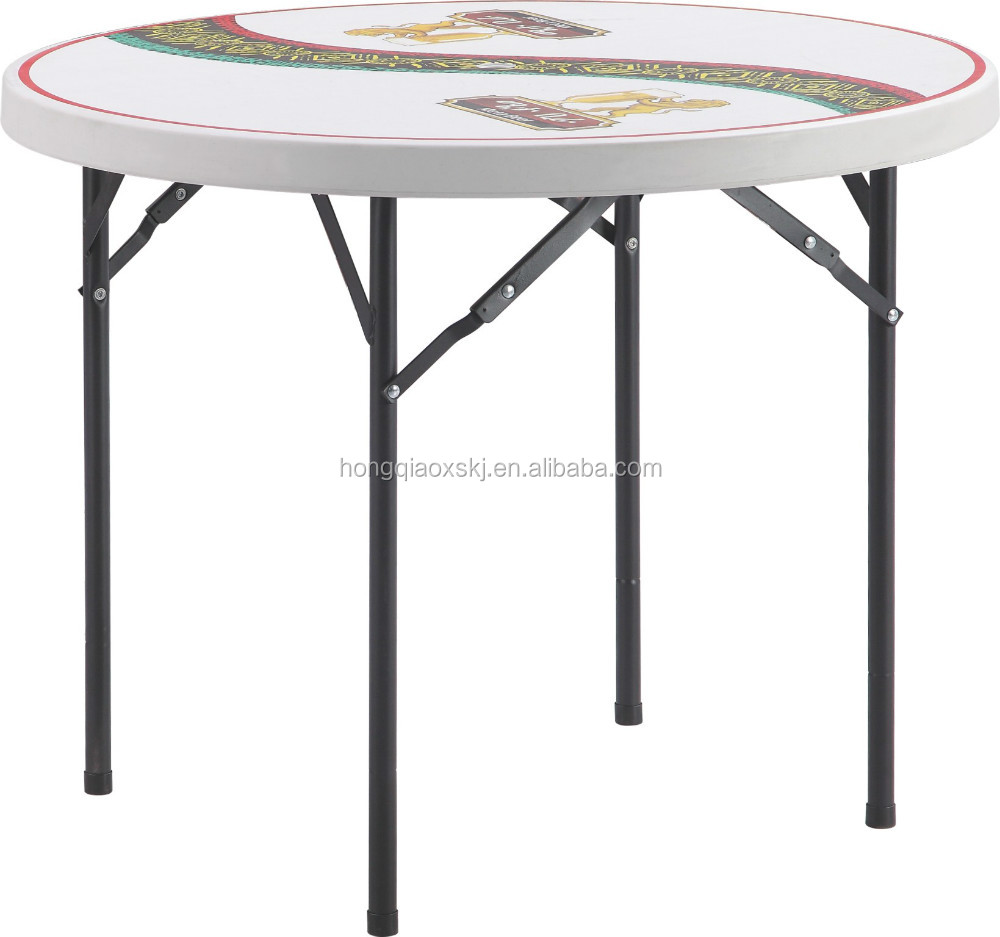 3ft plastic fold round table/multi-function small size round table/0.9m round table in compact design/HDPE blow mould furnitures
