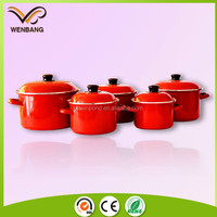 red printing nonstick kitchen ware porcelain enamel cookware sets