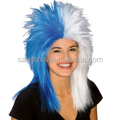 blue and white sports fanatic wig Football Sports fans wig QPWG-2039