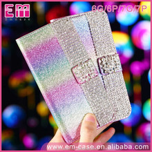 Top popular Wallet design bookstyle card holder leather flip leather phone cover bling case For IPhone 7/7plus