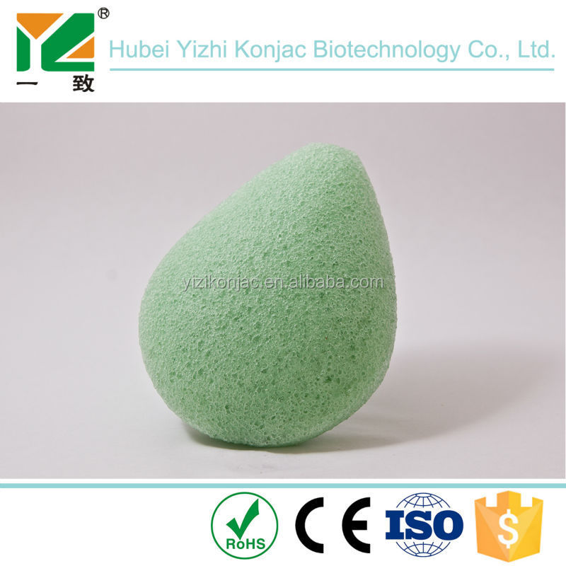 Amazon hot sale facial cleaning organic green tea konjac sponge