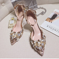 Glitter Leather With Flowers Evening Dress Party Wear Thin Heel Ladies Sandal Shoes