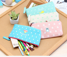 custom Lovely Girl Canvas Pencil Case Cute Kawaii Cartoon Fabric Zipper Animal Pencil Bag For Kids School Supplies Free sample