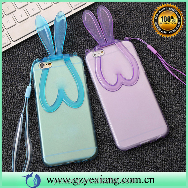 Cell phones case cute rabbit bunny ear soft back case cover for iphone 4s tpu cover case with holders stands