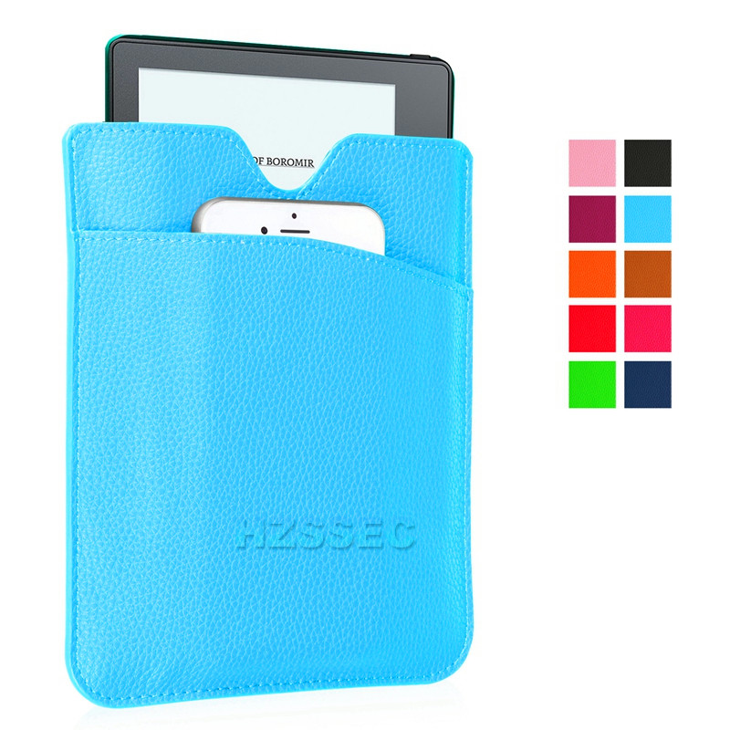 Lighted Leather Flip Cover Smart Sleep Wake-Up Function Design Case For Amazon Kindle Oasis Ebook 6 Inch (Green Blue)