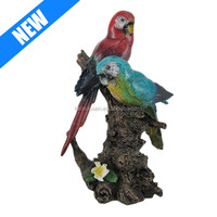 Tropical Birds on Tree Stump Statue /polyresin parrot birds Figure