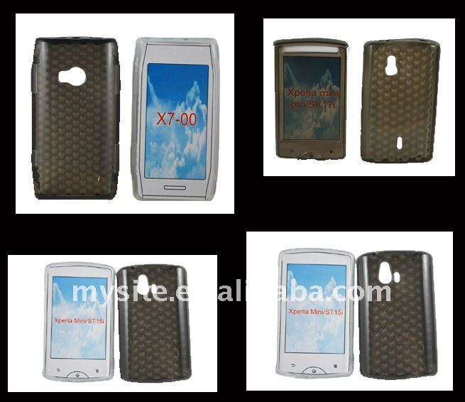 Diamond Clear Cell Phone TPU Case Covers for Sony Ericsson Xperia Mini/ST15i/SK17iXperia mini Pro