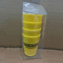 Schnapps YELLOW Plastic Shot Glass NEW SET OF 4