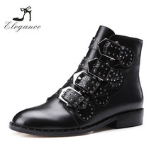 2017 Women Fashion Buckle Strap Ankle Studded Black Leather Motorcycle Riding Boots
