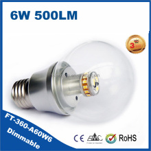 6 watt Dimmable led bulb E27 round clear glass cover,CE RoHS approved