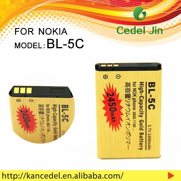 shenzhen battery BL-5C For nokia 1255/1280/1315/1600/1616/1650/1680c/1681c/1682c/2112 2450mAh gold battery
