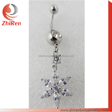 ZhiRen ZhiRen CZ flower Surgical Steel Navel Belly Button ring, curved Barbell Ball Ring Body Piercing