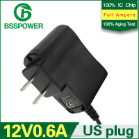 wholesale 12v 0.6a power adapter 600mA adaptor US plug