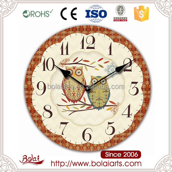 Flower shape borders and owls design small wooden wall clock