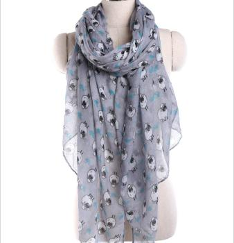 Wholesale Fashionable Women Long Cute Sheep Print Scarf