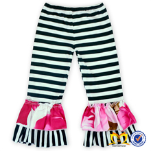 Fall Winter Little Girl Wholesale Girls Ruffle Pants Baby Stripe Ruffle Pants ,Toddler Girls Pants