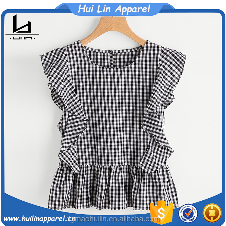 China top ten selling products cap sleeves frill trim blouse women's clothing manufacturer tops