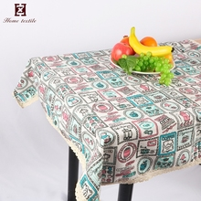 Dubai Natural Linen Tablecloth 150*150 CM Lace Christmas sublimation Table Cloth With Logo
