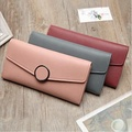 PU long lady purse with multi-card touch button
