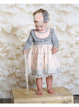 Hot sale fall winter children dress polka dot ruffle baby girls 100% cotton dress