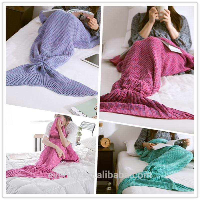 Cheap Soft knitted crochet Mermaid Tail Blanket wholesale for adult and kids