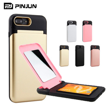 For I6 I7 I8 IPX Case Hybrid Card Slot Fashion Cover Mirror Phone Case For Iphone x 8 7 6