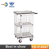 KB-514NAT Foldable Aluminum Dog Trolley Handled Pet Cage Small Size Pet Carrier