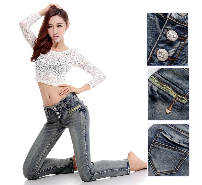 NEW!!! High quality Mid waist women's Jean Fashion brand casual skinny cotton pencil pants Spring Summer Denim Pants for women