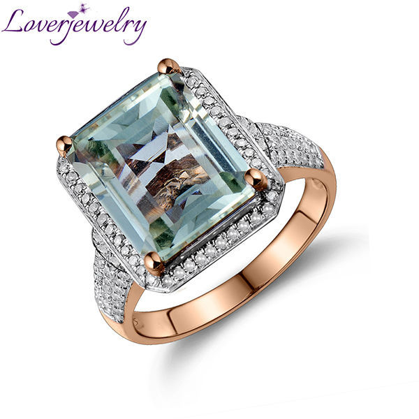5.57Ct 14Kt Rose Gold Natural Diamond Green Amethyst Ring Design 10x12mm
