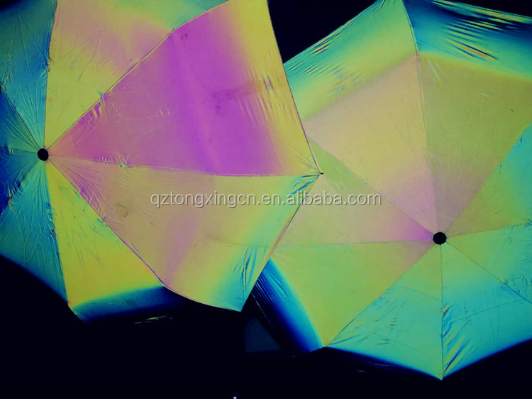 China factory price iridescent reflective material waterproof nylon fabric for umbrella