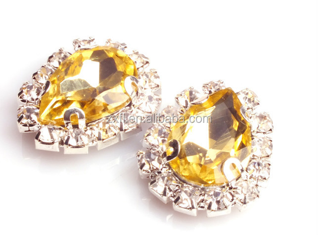Hanjie crystal sew on rhinestones claw teardrop stone shape for garment decoration