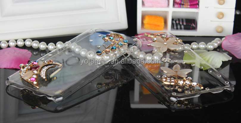 Custom 3D Bling Bling crystal cell mobile phone case(3D two butterflies)