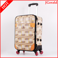 PU luggage trolley bags spinner suitcase with customized logo