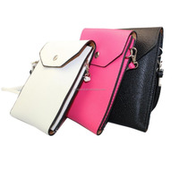 Fashion Leather Universal Mobile Phone Shoulder Bag Pouch Case With Neck Strap