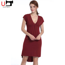 Hot Selling Deep V-neck Woman Party Cap Sleeve Casual Cocktail Dress with Two Pockets