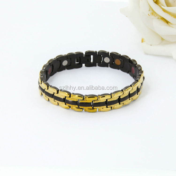 Top quality fashion Ion plating 316L Stainless Steel Magnetic Copper Bracelet ,38 Group Brand