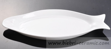 Super White Ceramic Fish Shaped Plates For Restaurant And Hotel