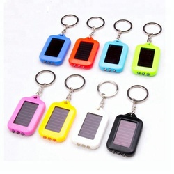 Wholesale Energy Saving 3 leds Colorful LED Mini Torch Keychain Solar Flashlights