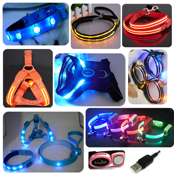 Flashing LED Dog Collar Dog Leash And Dog Harness Rechargeable