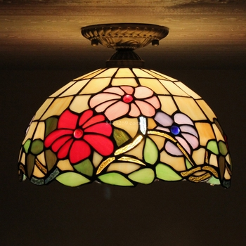 12 inch tiffany style ceiling lamp with sunflorwer for decoration