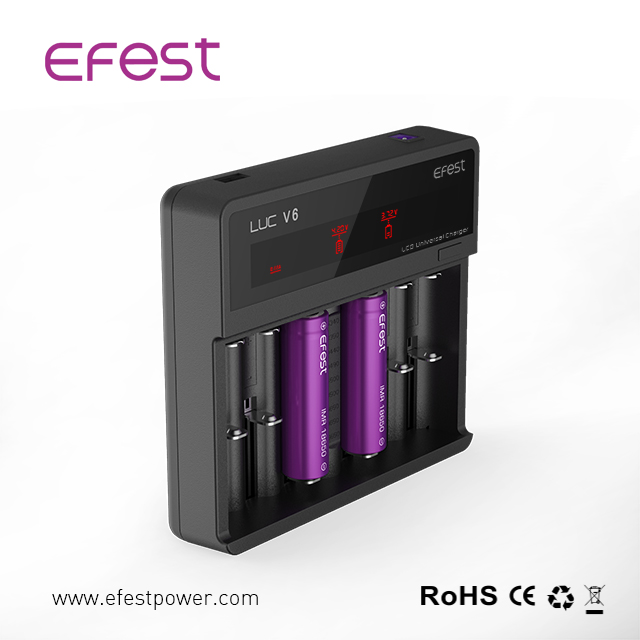 Authentic efest LUC V6 LCD high quality 18650 lithium ion battery charger aa aaa battery charger efest LUC V6