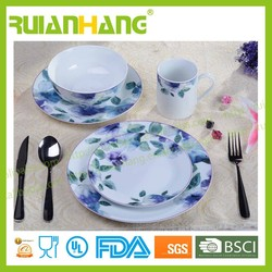 European style porcelain dinnerware ceramic print tableware dinner set