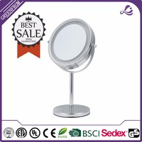 Professional chrome framed mirror for bath accessories standing compact mirror