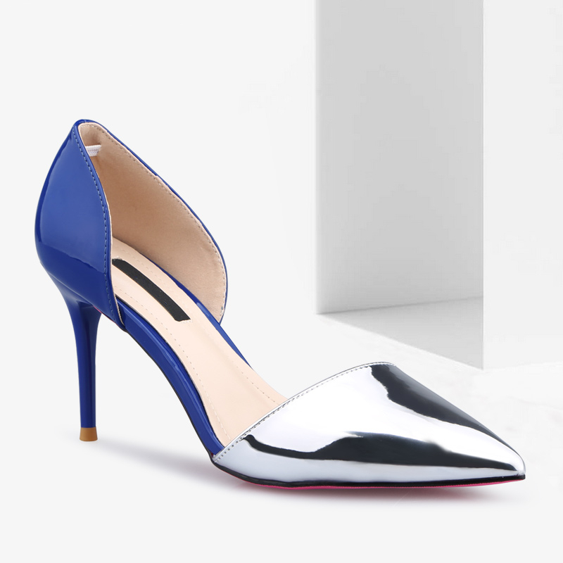 beautiful colors new design 2017 VERY FASHION NIGHT CLUB pointed patent color block colorful High heel pencil heel women sandal