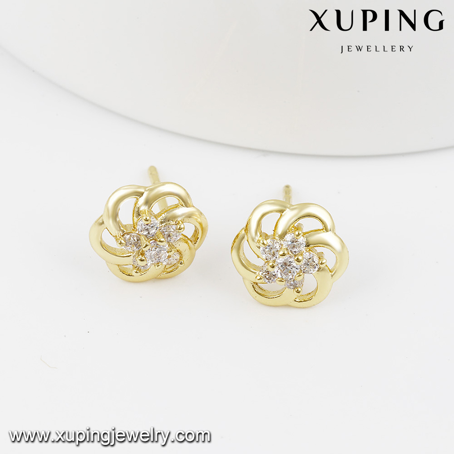 92078 xuping stud earring chinese gold, 14k gold color latest cute girls 2 gram gold beautiful designed