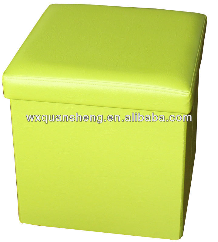 Simpleang and Gentle!!Green PVC Leather folding storage stool